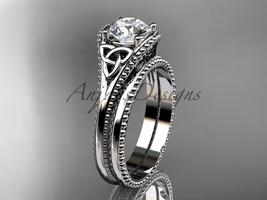 Moissanite Celtic knot wedding rings sets 14k white gold engagement ring... - $1,345.00