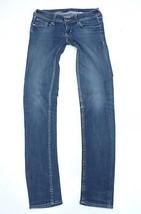 Women's Vintage Zip Fly Stretch Slim Skinny Blue Denim Jeans Size W26 L31 - $28.18