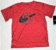 Nike Boys Red Dri-Fit T-Shirt Swoosh Thunder Cloud Size 5 NWT - $11.69