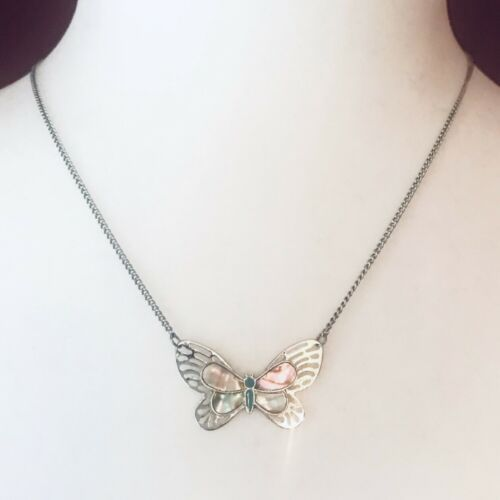 Vintage Mother Of Pearl Butterfly Necklace