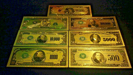 6Pc.LOT~TINY SILVER-BAR+.999 GOLD BANKNOTE REP*SET$5,10,20,50,100~FREE-SHIPPING!