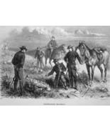 BEAVER CREEK Nebraska American Cavalry Slain by Indians - 1883 German Print - $21.60