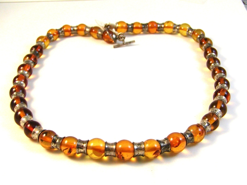Amber Ball String Necklace  - a