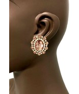 "1.25"" Drop Clip-On Evening Earring, Peach & Fake Opal Rhinestones Pagean... - $15.15"