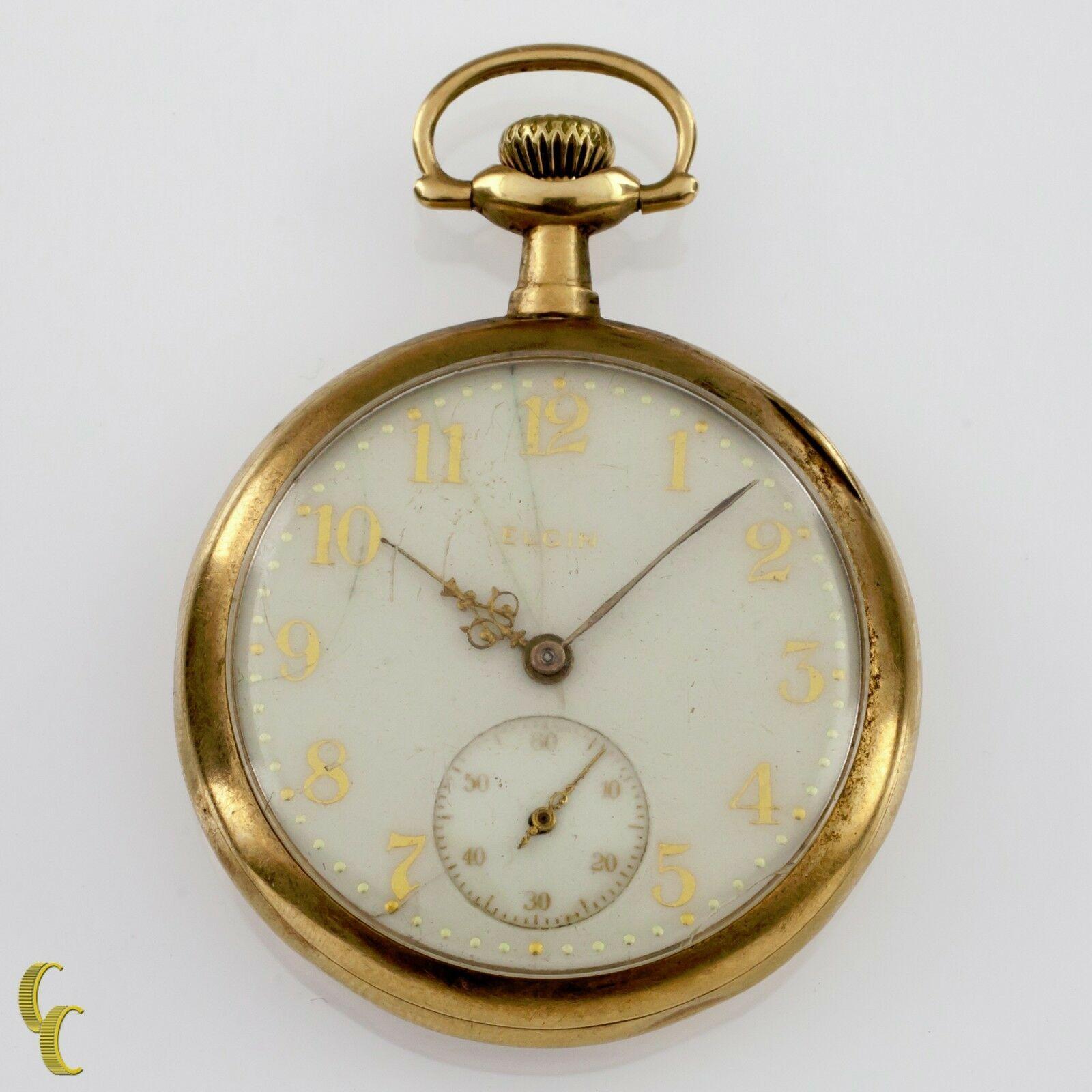 Elgin Open Face 14k Yellow Gold Pocket Watch 15 Jewel Size 12 Grade 315 - $1,247.21
