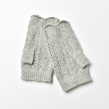 *Christmas Sale* Grey Knitted Diamond Design Fingerless Cable Gloves for... - $13.09