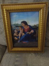 Vintage religious painting Copy of print MADONNA of the CHAIR RAPHAEL - $8.56