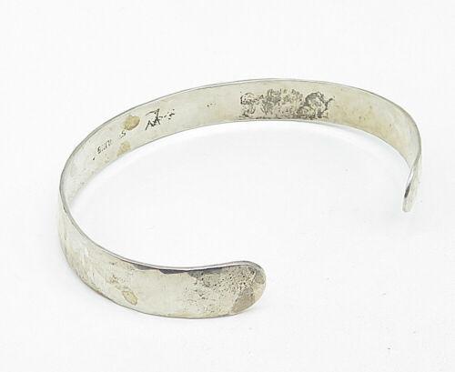 WILLIE LONG NAVAJO 925 Silver - Vintage Hammered Texture Cuff Bracelet - B5240