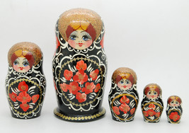 5 Authentic Russian Nesting dolls with flowers Matryoshka Black, babushk... - $44.90