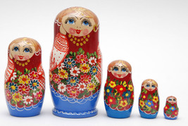 5 Authentic Russian Nesting dolls with flowers Matryoshka2, russian nest... - $54.90