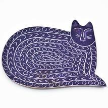 Vaneal Group Hand Carved Kisii Soapstone Purple Kitten Cat Trinket Catchall