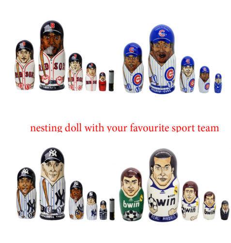 "Custom nesting doll MLB NHL NFL ncaa nba Nesting Doll Any sport Team 6"""