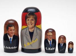 "German Cancellariuses (Merkel, Schroder, Kohl, Brandt, Adenauer) matryoshka,6.8"" - $54.90"