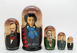 "Pushkin, Dostoevsky, Tolstoy russian poets and writers Nesting 5pc matryoshka 6"" - $54.90"