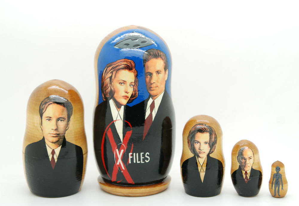 The X-files David Duchovny, Gillian Nesting Dolls 5pc matryoshka doll nesting,6""
