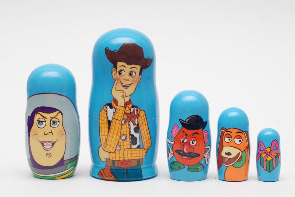 """Toy Story nesting doll matryoshka 5pc babushka, 6.8"""""""