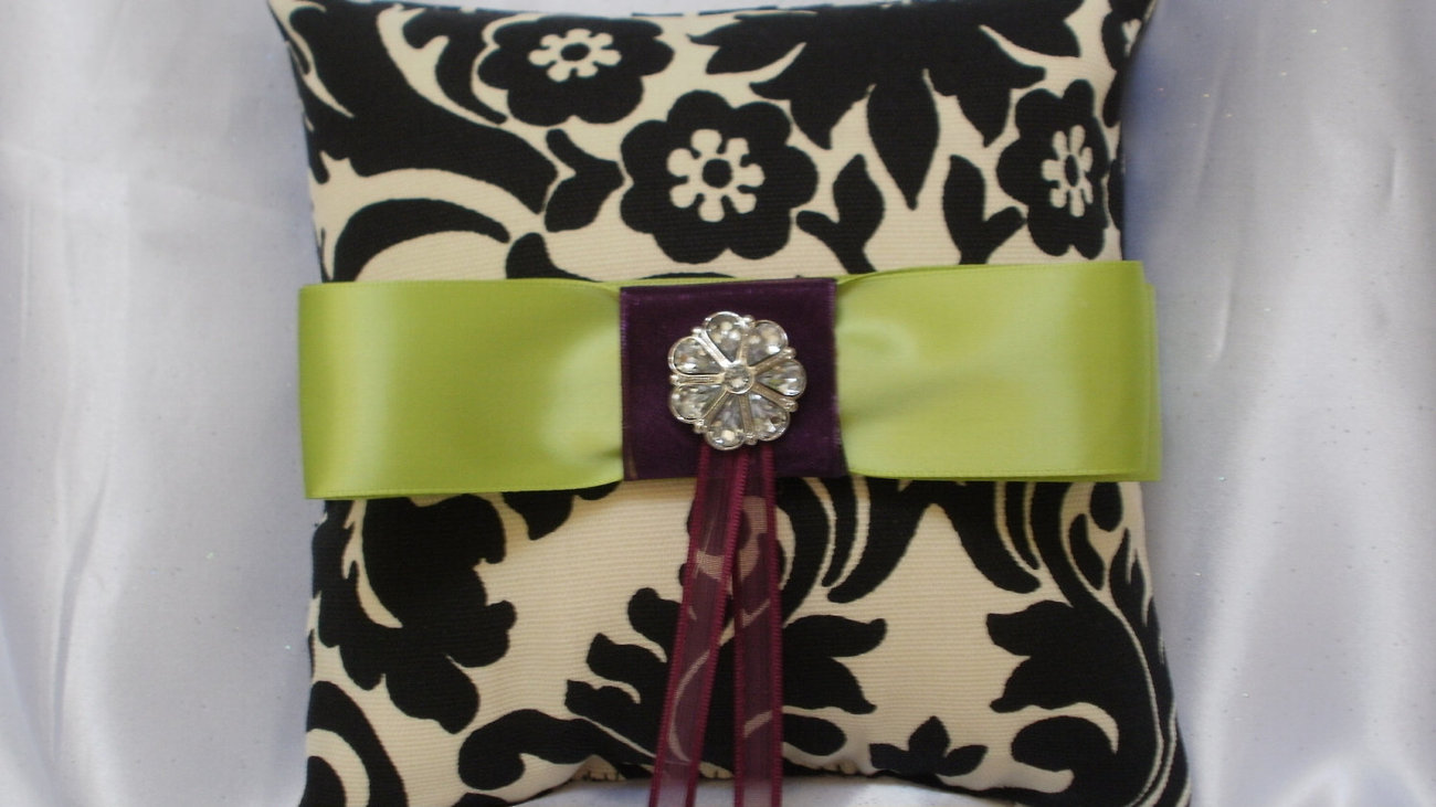 DAMASK BASKET, PILLOW Ringbearer Ring Pillow and Flower Girl Basket Waverly onyx