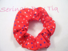 Red with Blue and White Stars Ponytail Holder Wrap Hair Scrunchie - $5.99