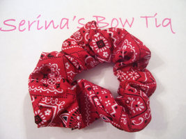 Red Bandana Ponytail Holder Wrap Hair Scrunchie - $5.99