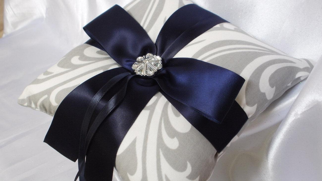 Custom DAMASK SET  RINGBEARER Pillow Flower Girl Basket Osborne Grey/white w/Nav