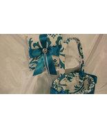 DAMASK RINGBEARER Pillow and Flower Girl Basket  Traditions damask Teal ... - $55.95