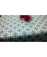 "MODERN TABLECLOTH 54X84"" White on Grey Gray Cage Chain Print Tablecloth ... - $49.99"