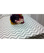 "CHEVRON TABLECLOTH 54 X 84"" grey and white table cloth rectangle Gray zi... - $49.99"