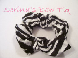 Zebra Black & White Stripe Print Ponytail Holder Wrap Hair Scrunchie - $5.99