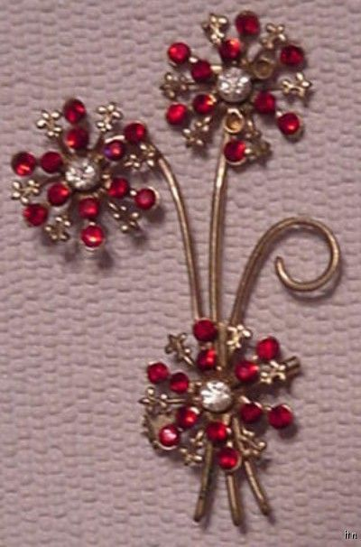 Vintage Red Rhinestones Flower Brooch Pin