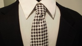 MEN'S HOUNDSTOOTH TIE and Pocket Square  Black and White Necktie and han... - $27.95