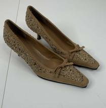 Vintage Stuart Weitzman women's size 8 brown tweed leather pumps - $24.75