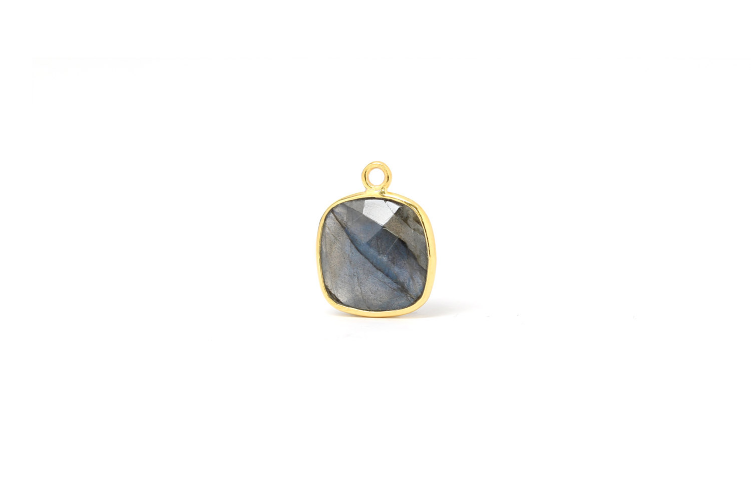 Primary image for  Bezel Drop, Labradorite Square, Gold Plated Sterling Silver, 12mm, 1Pc (7212)/1
