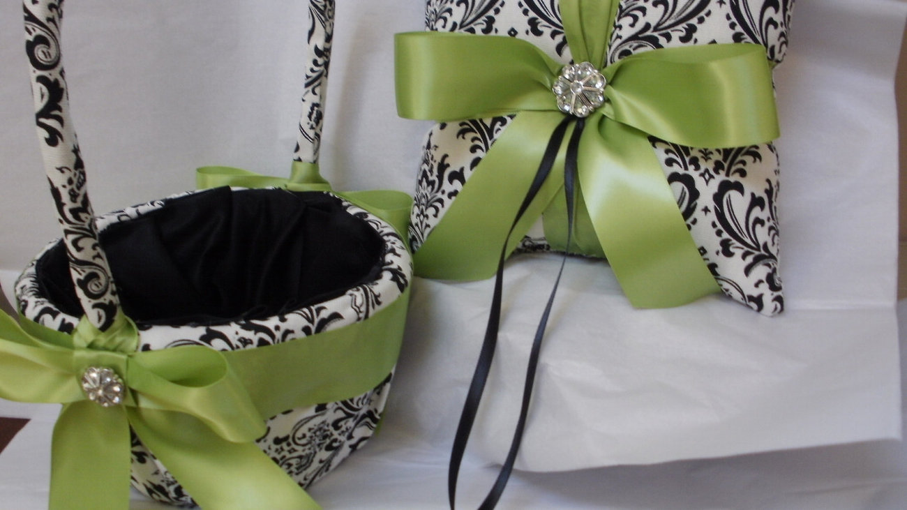 Damask Ring Bearer Pillow and Flower Girl Basket ,Guest Book, Pen, Garter Set  B