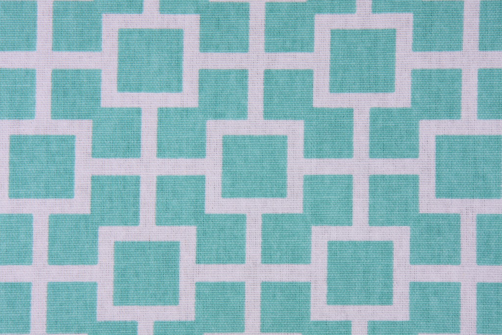 AQUA TABLE RUNNER Lined Modern Geometric lattice aqua and white Robert Allen Pri