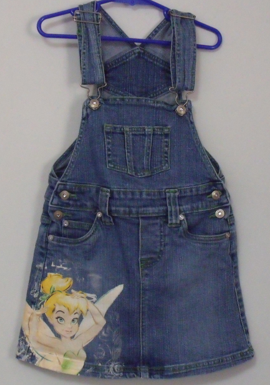 Girls Disney Tinker Bell Blue Denim Bib Skirt Size Small 5 to 6