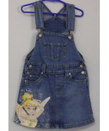 Girls Disney Tinker Bell Blue Denim Bib Skirt Size Small 5 to 6 - $6.00