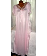 Light Pink Nylon Long nightgown with Bow 1X 2X Semi Sheer Lace Trim - $22.50