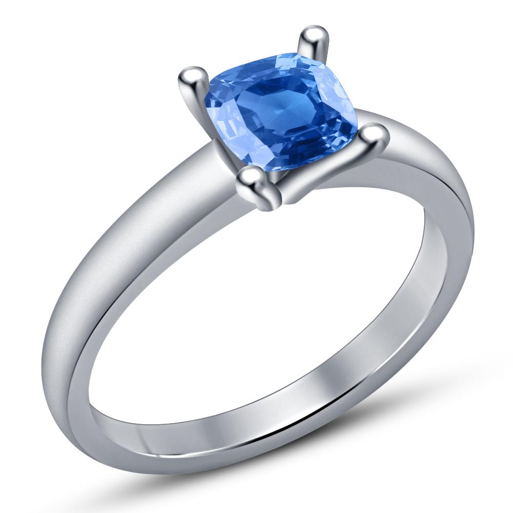 14k White Gold Plated 925 Silver Cushion Cut Blue Topaz Bridal Wedding Ring Set