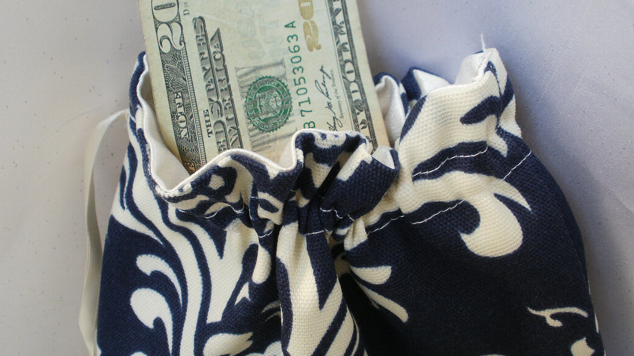 DAMASK MONEY BAG Navy Blue and White or Navy and Ivory Osborne Money Dance Card