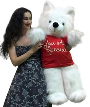American Made Giant Teddy Bear 45 inches Wears YOU ARE SPECIAL Tshirt Wh... - $97.11