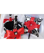Damask Ring Bearer Pillow and Flower Girl Basket  and Garter Set Amsterd... - $74.95