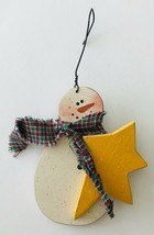 Hand Painted Wood Snowman Holding Star Christmas Ornament Signed Wire Ha... - $10.69