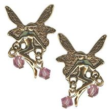 Antique Golden Blushing Fairy Earrings - $18.00