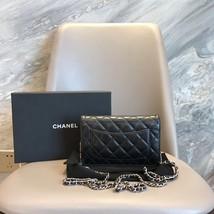 AUTH CHANEL Black Lambskin WOC Wallet on Chain WOC Bag SHW image 4