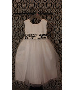 WHITE or IVORY DRESS Flower girl Dress satin and tulle with Traditions d... - $79.99