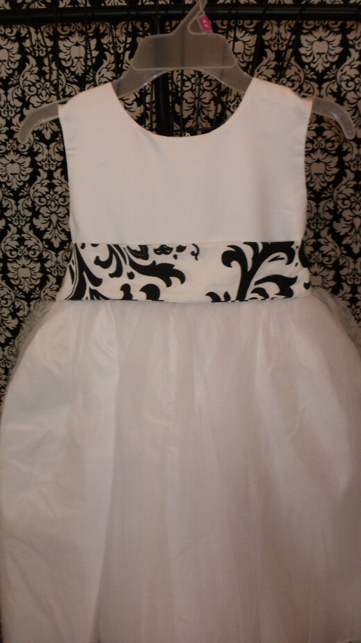 WHITE or IVORY DRESS Flower girl Dress satin and tulle with Traditions damask ob