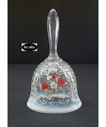 Fenton Strawberries On French Opalescent Basket Weave Bell - $19.95