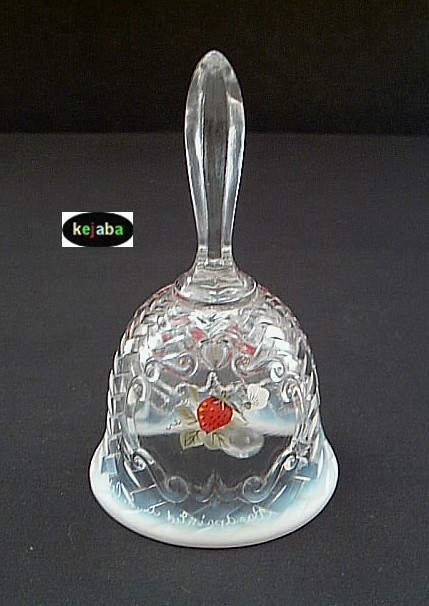 Fenton Strawberries On French Opalescent Basket Weave Bell