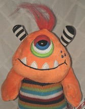 GANZ H12596 Orange One Eyed  KnitWit Monster Multi Colored 10 Inch 3 Plus age image 2