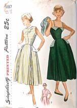 Vintage 1940s Sewing Pattern Simplicity #3187 SunDress, Jacket Size 12, ... - $21.22